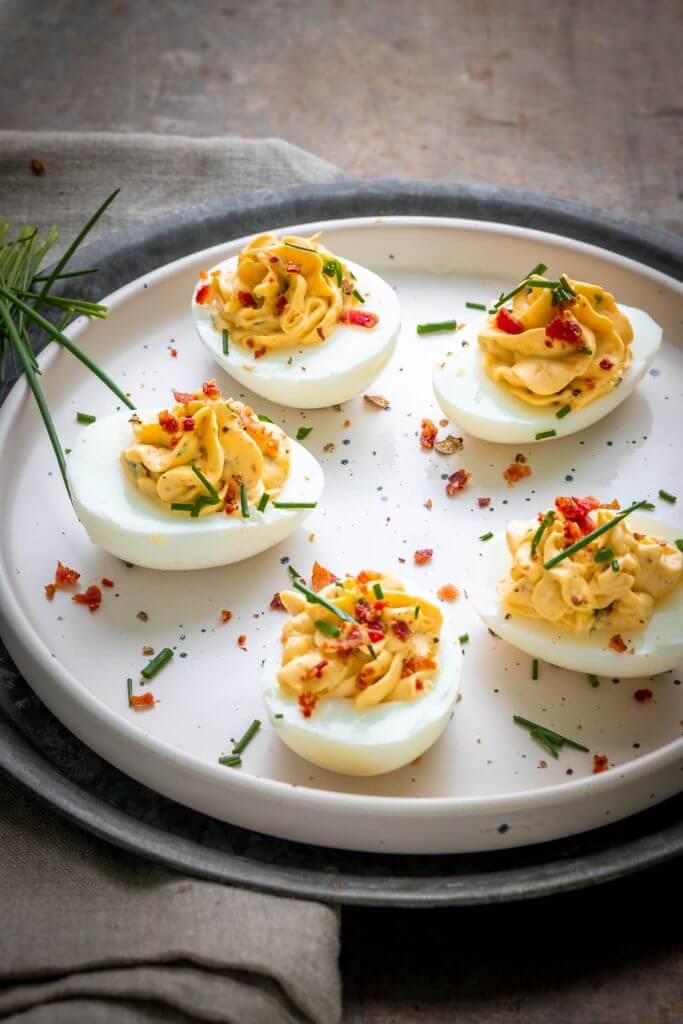 Gevulde eieren met truffel en bacon
